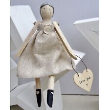 Wood Face Ballerina Ornament Doll w Heart Message, Love You/You are My Sunshine