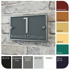 Modern House Name/Number Address Plaques Door Signs Rectangle Glass Effect
