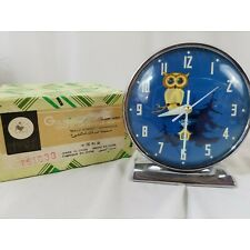 Vtg Metal Wind Up Alarm Clock, Owl-eyes Move With Each Second, Blue Face, Box,