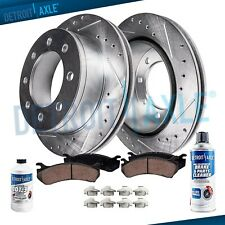 Front Drilled Rotors + Brake Pads for Chevy GMC 1500 2500 3500 Trucks 8-Lug