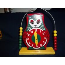 VINTAGE CHILD'S WOOD OWL TOY CLOCK ABACUS MOVING EYES RED GREEN YELLOW