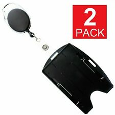 2-Pack Card ID Holder with Retractable Badge Reel w Carabiner & Belt Clip