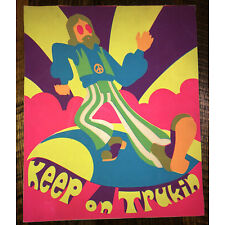 """Vintage 60s/70s Black Light Psychadelic Poster """"Keep On Trukin"""" 14x17 Inches"""