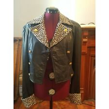 North Beach Micheal Hoban black leather jacket with animal print collar