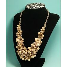 """Nice Faux Pearl & Crystal Bead Bib Necklace Gold Tone 21"""" or Shorter Nude Color"""