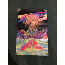 """Vintage 1969 Peace Volcano Psychedelic Black Light Poster 32""""x 21"""" Hippie 60s"""