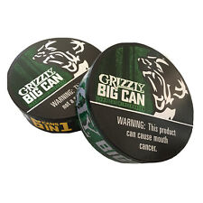 2-Grizzly Wintergreen Big Can 6 Cans in 1 EMPTY 7.2 oz Snuff