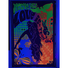 """Original """"Love is A Turn On"""" Trippy Blacklight Poster 22.5"""" X 35"""" Weed Party Sex"""