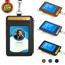 ID Badge Card Holder Synthetic Leather Vertical Clip Neck Strap Lanyard Case