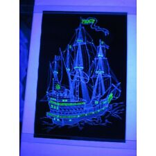 Vintage SHIP OF PEACE Psychedelic Blacklight Poster Cool Old Ocean Clipper Boat